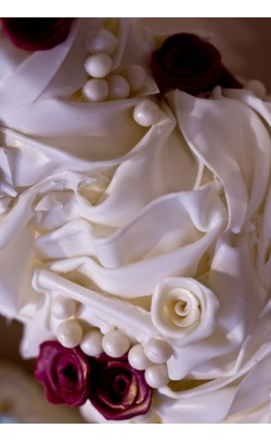 White Chocolate Swags and Ruffles Wedding Cake