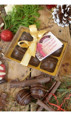 Dark Chocolate Cherries in Marzipan - Box of 6