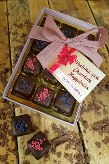 Dark Chocolate Rose and Violet Creams - Box of 12
